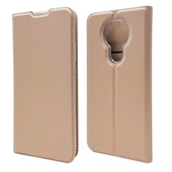 Ultra Slim Card Magnetic Automatic Suction Leather Wallet Case for Nokia 3.4 - Rose Gold