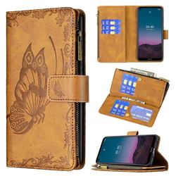 Binfen Color Imprint Vivid Butterfly Buckle Zipper Multi-function Leather Phone Wallet for Nokia 3.4 - Brown