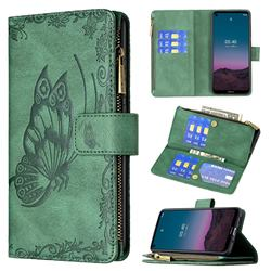 Binfen Color Imprint Vivid Butterfly Buckle Zipper Multi-function Leather Phone Wallet for Nokia 3.4 - Green