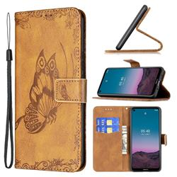 Binfen Color Imprint Vivid Butterfly Leather Wallet Case for Nokia 3.4 - Brown