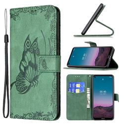 Binfen Color Imprint Vivid Butterfly Leather Wallet Case for Nokia 3.4 - Green