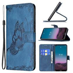 Binfen Color Imprint Vivid Butterfly Leather Wallet Case for Nokia 3.4 - Blue