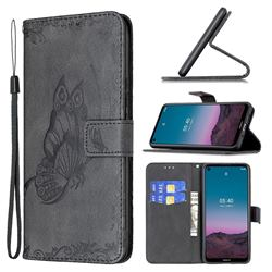 Binfen Color Imprint Vivid Butterfly Leather Wallet Case for Nokia 3.4 - Black