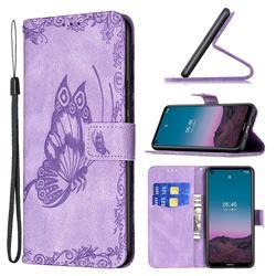 Binfen Color Imprint Vivid Butterfly Leather Wallet Case for Nokia 3.4 - Purple