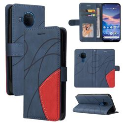 Luxury Two-color Stitching Leather Wallet Case Cover for Nokia 3.4 - Blue