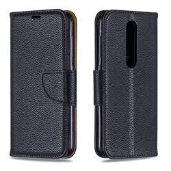 Classic Luxury Litchi Leather Phone Wallet Case for Nokia 4.2 - Black