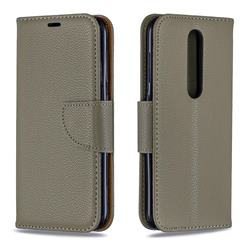 Classic Luxury Litchi Leather Phone Wallet Case for Nokia 4.2 - Gray