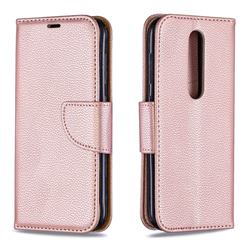 Classic Luxury Litchi Leather Phone Wallet Case for Nokia 4.2 - Golden