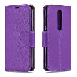 Classic Luxury Litchi Leather Phone Wallet Case for Nokia 4.2 - Purple