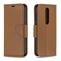 Classic Luxury Litchi Leather Phone Wallet Case for Nokia 4.2 - Brown