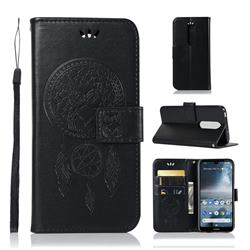 Intricate Embossing Owl Campanula Leather Wallet Case for Nokia 4.2 - Black