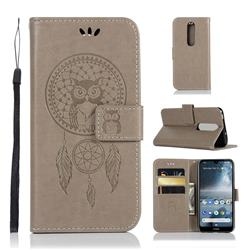 Intricate Embossing Owl Campanula Leather Wallet Case for Nokia 4.2 - Grey