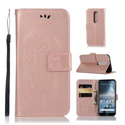 Intricate Embossing Owl Campanula Leather Wallet Case for Nokia 4.2 - Rose Gold