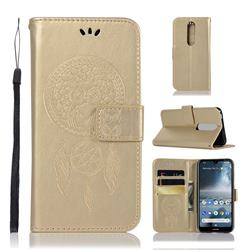 Intricate Embossing Owl Campanula Leather Wallet Case for Nokia 4.2 - Champagne