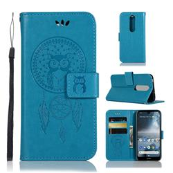 Intricate Embossing Owl Campanula Leather Wallet Case for Nokia 4.2 - Blue