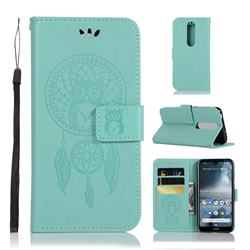 Intricate Embossing Owl Campanula Leather Wallet Case for Nokia 4.2 - Green