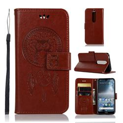 Intricate Embossing Owl Campanula Leather Wallet Case for Nokia 4.2 - Brown