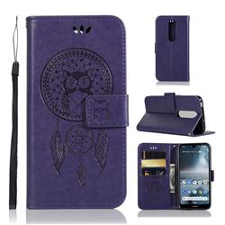 Intricate Embossing Owl Campanula Leather Wallet Case for Nokia 4.2 - Purple