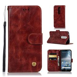 Luxury Retro Leather Wallet Case for Nokia 4.2 - Wine Red