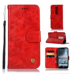 Luxury Retro Leather Wallet Case for Nokia 4.2 - Red