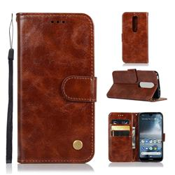 Luxury Retro Leather Wallet Case for Nokia 4.2 - Brown