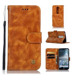 Luxury Retro Leather Wallet Case for Nokia 4.2 - Golden