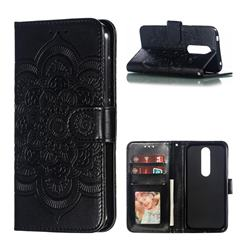 Intricate Embossing Datura Solar Leather Wallet Case for Nokia 4.2 - Black