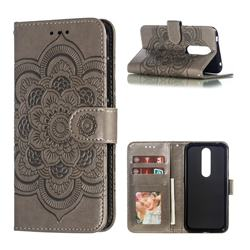Intricate Embossing Datura Solar Leather Wallet Case for Nokia 4.2 - Gray