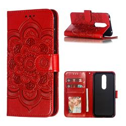 Intricate Embossing Datura Solar Leather Wallet Case for Nokia 4.2 - Red