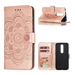 Intricate Embossing Datura Solar Leather Wallet Case for Nokia 4.2 - Rose Gold