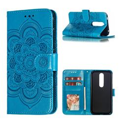 Intricate Embossing Datura Solar Leather Wallet Case for Nokia 4.2 - Blue