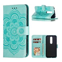 Intricate Embossing Datura Solar Leather Wallet Case for Nokia 4.2 - Green