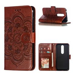 Intricate Embossing Datura Solar Leather Wallet Case for Nokia 4.2 - Brown