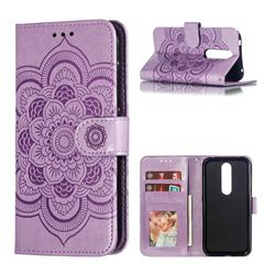 Intricate Embossing Datura Solar Leather Wallet Case for Nokia 4.2 - Purple