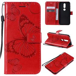 Embossing 3D Butterfly Leather Wallet Case for Nokia 4.2 - Red