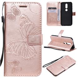 Embossing 3D Butterfly Leather Wallet Case for Nokia 4.2 - Rose Gold
