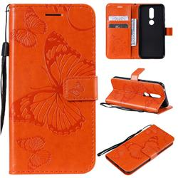 Embossing 3D Butterfly Leather Wallet Case for Nokia 4.2 - Orange