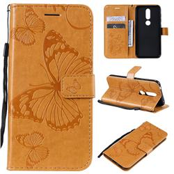 Embossing 3D Butterfly Leather Wallet Case for Nokia 4.2 - Yellow