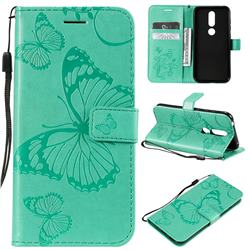Embossing 3D Butterfly Leather Wallet Case for Nokia 4.2 - Green