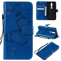 Embossing 3D Butterfly Leather Wallet Case for Nokia 4.2 - Blue