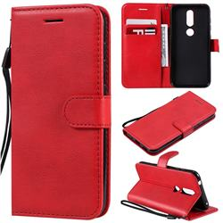 Retro Greek Classic Smooth PU Leather Wallet Phone Case for Nokia 4.2 - Red