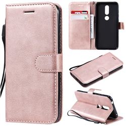 Retro Greek Classic Smooth PU Leather Wallet Phone Case for Nokia 4.2 - Rose Gold