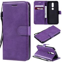 Retro Greek Classic Smooth PU Leather Wallet Phone Case for Nokia 4.2 - Purple