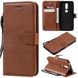 Retro Greek Classic Smooth PU Leather Wallet Phone Case for Nokia 4.2 - Brown