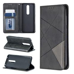 Prismatic Slim Magnetic Sucking Stitching Wallet Flip Cover for Nokia 4.2 - Black
