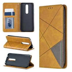 Prismatic Slim Magnetic Sucking Stitching Wallet Flip Cover for Nokia 4.2 - Yellow
