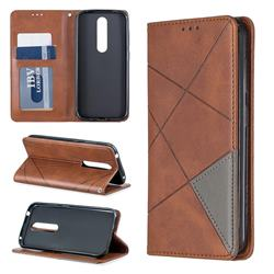 Prismatic Slim Magnetic Sucking Stitching Wallet Flip Cover for Nokia 4.2 - Brown