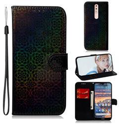 Laser Circle Shining Leather Wallet Phone Case for Nokia 4.2 - Black
