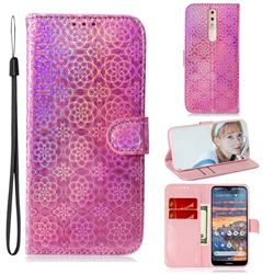 Laser Circle Shining Leather Wallet Phone Case for Nokia 4.2 - Pink