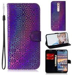 Laser Circle Shining Leather Wallet Phone Case for Nokia 4.2 - Purple